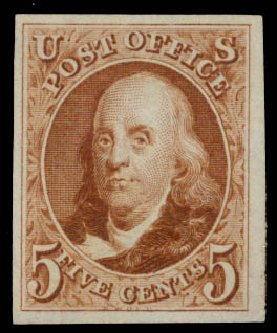 Prices of US Stamp Scott Catalogue 3 - 5c 1875 Franklin. Daniel Kelleher Auctions, Aug 2015, Sale 672, Lot 2101