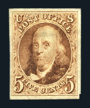 US Stamps Price Scott Catalogue # 3 - 5c 1875 Franklin. Harmer-Schau Auction Galleries, Aug 2015, Sale 106, Lot 1255