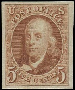 US Stamps Price Scott 3 - 1875 5c Franklin. Regency-Superior, Aug 2015, Sale 112, Lot 43