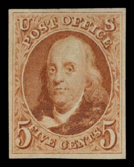 US Stamps Prices Scott 3: 5c 1875 Franklin. Daniel Kelleher Auctions, Aug 2015, Sale 672, Lot 2106