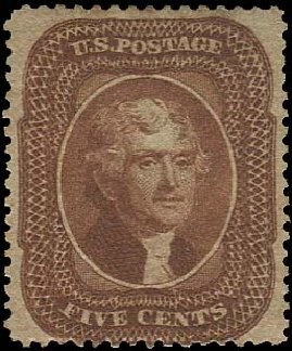 US Stamp Price Scott #30 - 5c 1861 Jefferson. Regency-Superior, Aug 2015, Sale 112, Lot 117
