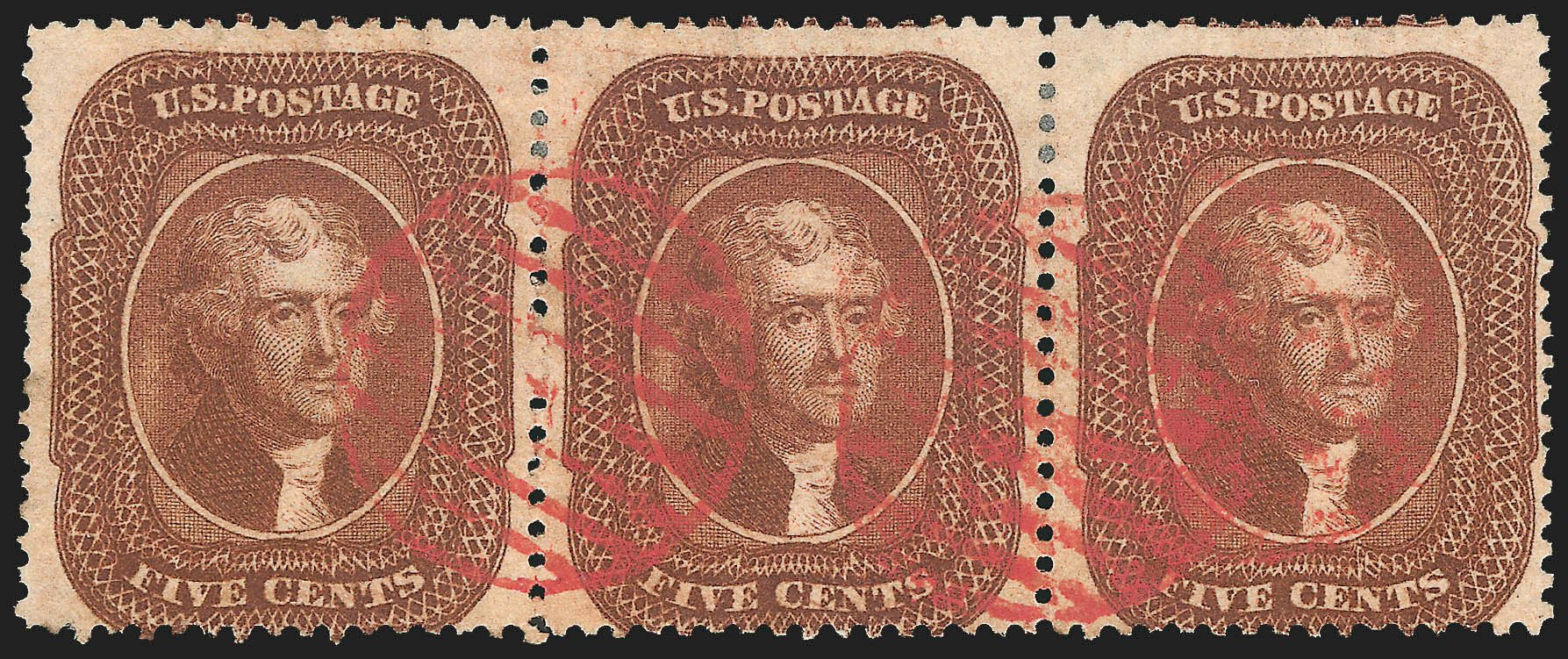 US Stamp Prices Scott Cat. # 30 - 5c 1861 Jefferson. Robert Siegel Auction Galleries, Jul 2015, Sale 1107, Lot 91