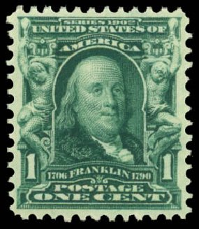 Values of US Stamps Scott #300: 1903 1c Franklin. Daniel Kelleher Auctions, Dec 2014, Sale 661, Lot 268
