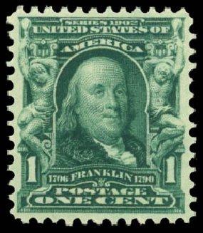 Values of US Stamps Scott #300: 1903 1c Franklin. Daniel Kelleher Auctions, Dec 2014, Sale 661, Lot 268