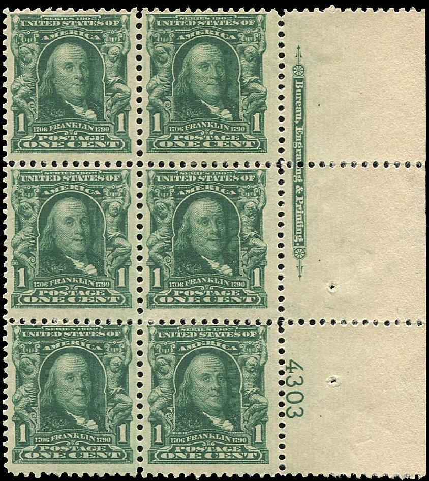 Cost of US Stamps Scott Catalog 300 - 1903 1c Franklin. Regency-Superior, Aug 2015, Sale 112, Lot 1301