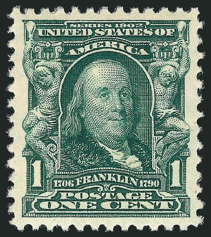 Values of US Stamps Scott Catalog 300: 1903 1c Franklin. Robert Siegel Auction Galleries, Dec 2013, Sale 1062, Lot 482