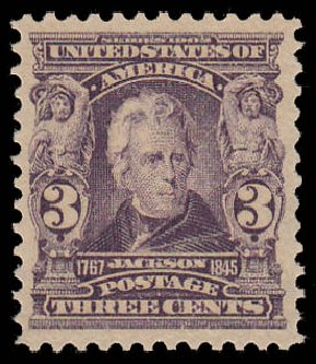 Cost of US Stamp Scott Catalogue 302: 1903 3c Jackson. Daniel Kelleher Auctions, Jan 2015, Sale 663, Lot 1609