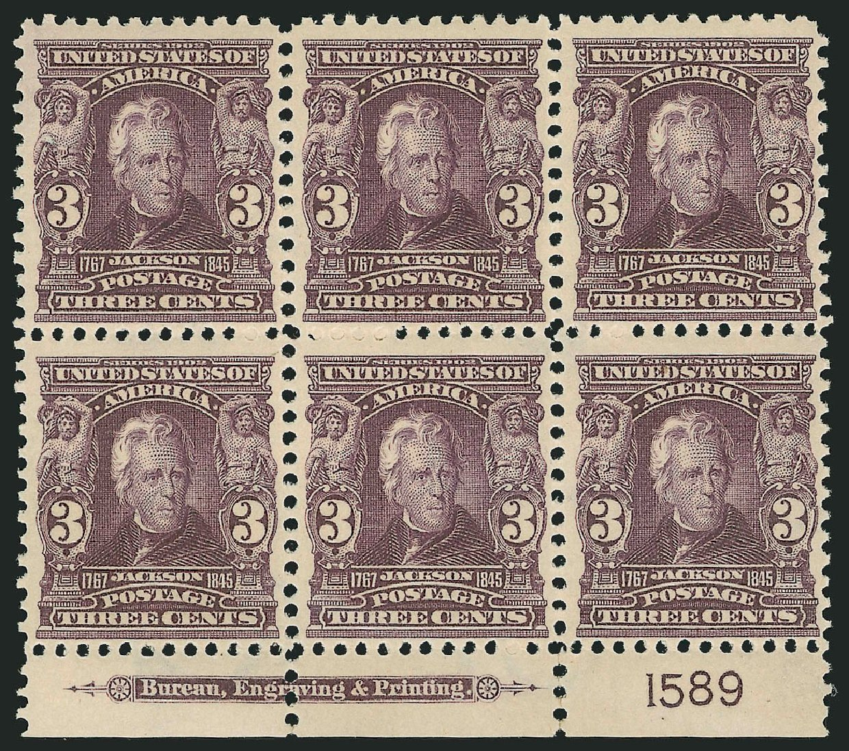 US Stamps Value Scott Catalog 302 - 3c 1903 Jackson. Robert Siegel Auction Galleries, Feb 2015, Sale 1093, Lot 10