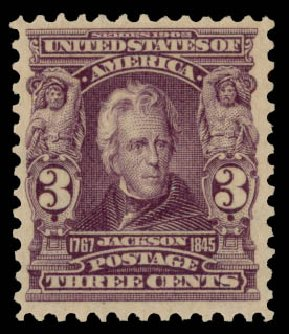 Value of US Stamp Scott Catalog # 302 - 1903 3c Jackson. Daniel Kelleher Auctions, May 2015, Sale 669, Lot 2851