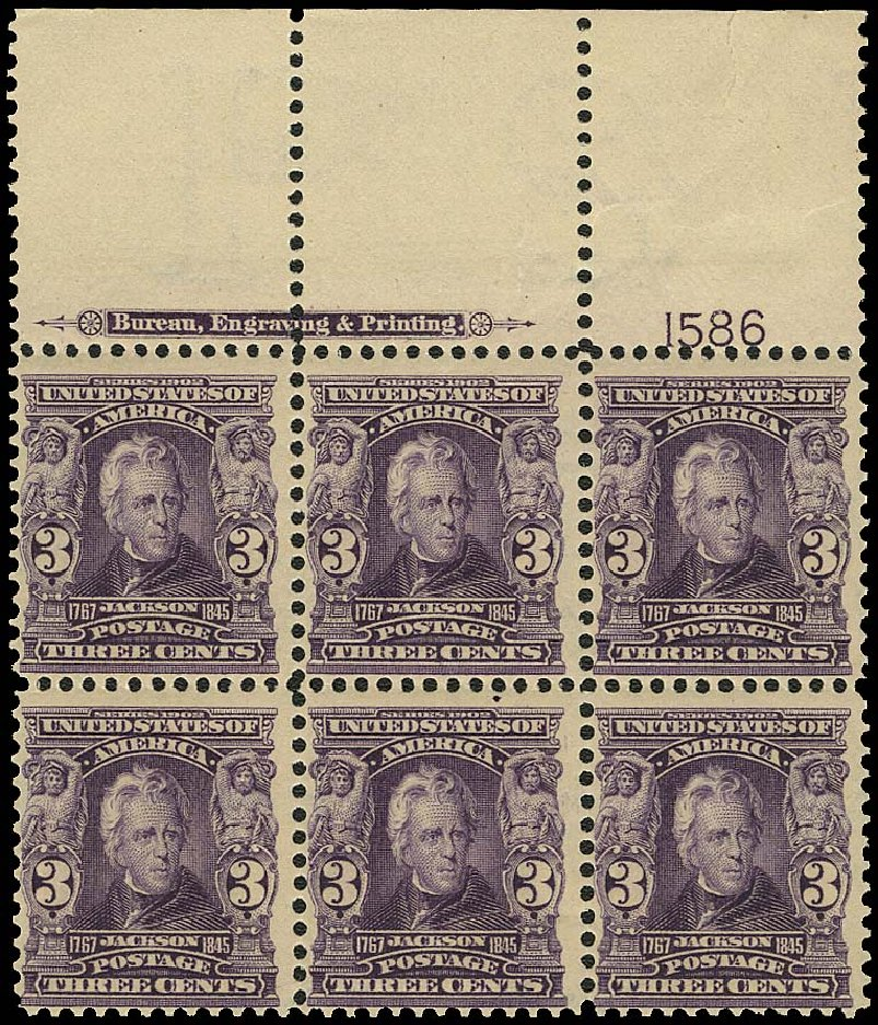 US Stamps Values Scott Catalog # 302: 1903 3c Jackson. Regency-Superior, Aug 2015, Sale 112, Lot 1303