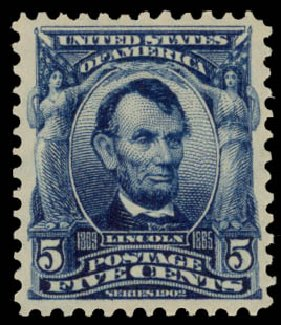Values of US Stamp Scott # 304: 1903 5c Lincoln. Daniel Kelleher Auctions, May 2015, Sale 669, Lot 2853