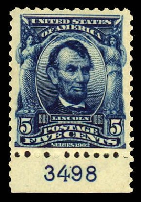 1903, 5¢ blue (304), bottom plate number single, o g , never hinged,  extraordinary example with incredible deep rich color and nicely balanced