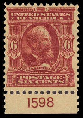 Cost of US Stamp Scott Catalogue # 305 - 6c 1903 Garfield. Daniel Kelleher Auctions, Aug 2012, Sale 631, Lot 1059