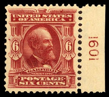 Costs of US Stamps Scott #305 - 1903 6c Garfield. Daniel Kelleher Auctions, Dec 2012, Sale 633, Lot 539
