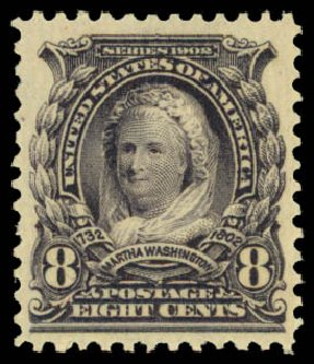 Values of US Stamps Scott #306: 1902 8c Martha Washington. Daniel Kelleher Auctions, Dec 2014, Sale 661, Lot 271