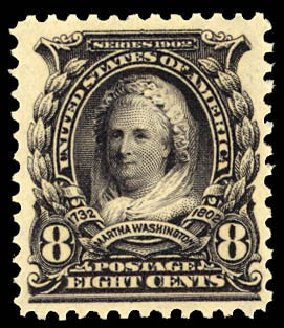 US Stamp Value Scott Cat. 306: 8c 1902 Martha Washington. Daniel Kelleher Auctions, Dec 2012, Sale 633, Lot 543