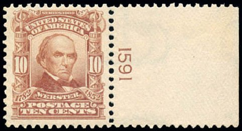 US Stamp Values Scott #307: 1903 10c Webster. Schuyler J. Rumsey Philatelic Auctions, Apr 2015, Sale 60, Lot 2778