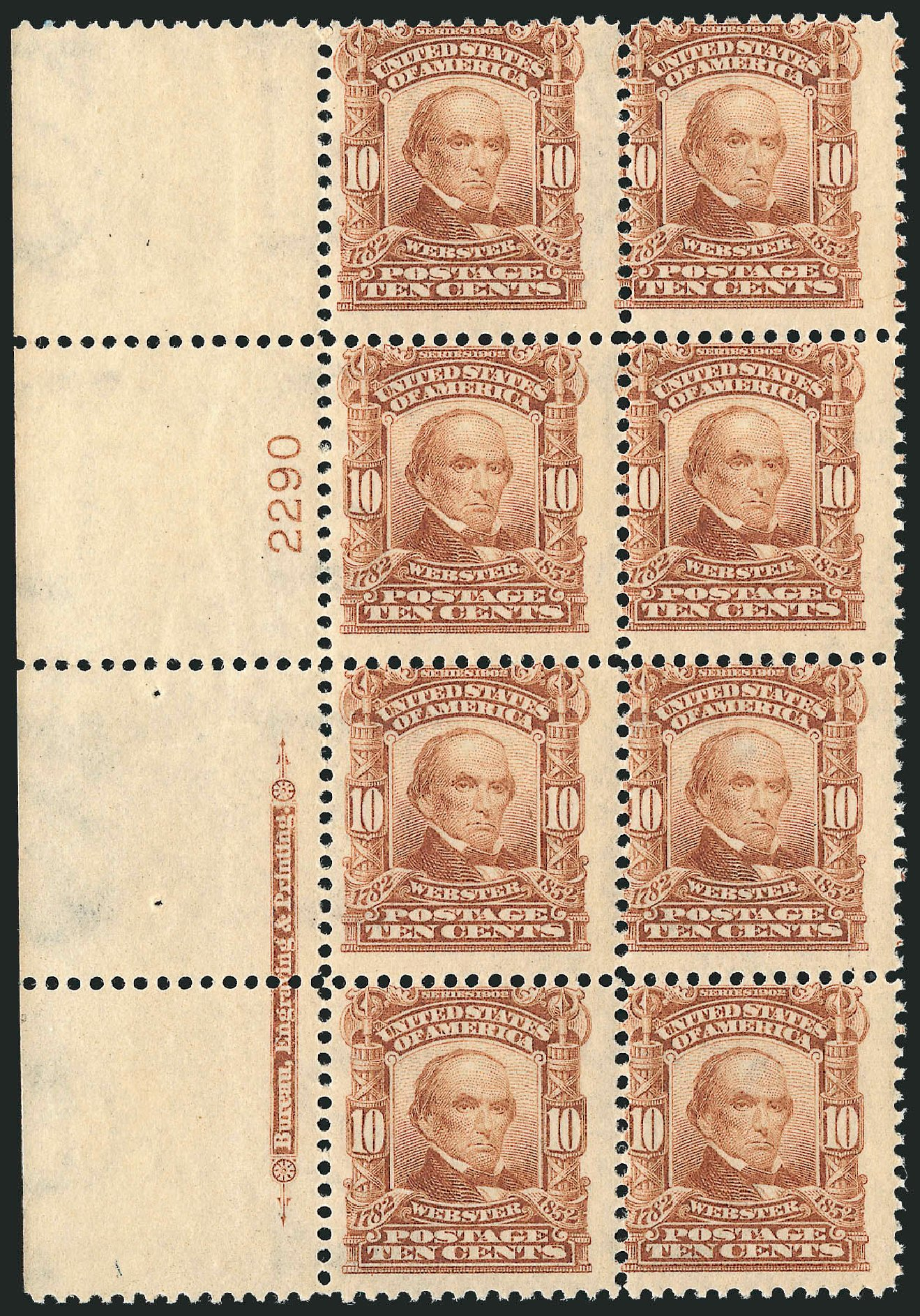 Value of US Stamps Scott Catalog # 307 - 1903 10c Webster. Robert Siegel Auction Galleries, Jul 2014, Sale 1077, Lot 218