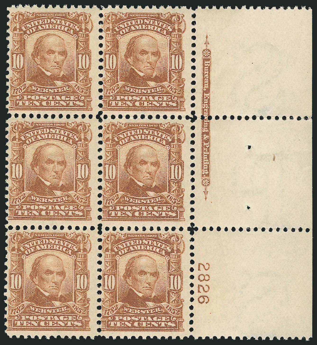 Values of US Stamps Scott Catalog # 307 - 10c 1903 Webster. Robert Siegel Auction Galleries, Feb 2015, Sale 1093, Lot 18