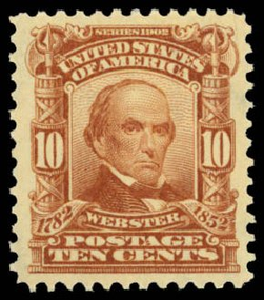 Cost of US Stamp Scott # 307 - 1903 10c Webster. Daniel Kelleher Auctions, Dec 2014, Sale 661, Lot 272