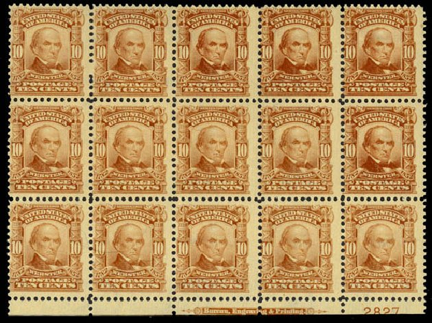 US Stamp Values Scott Catalog #307: 10c 1903 Webster. Daniel Kelleher Auctions, May 2014, Sale 652, Lot 466