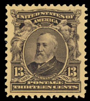 Values of US Stamp Scott Catalogue #308: 1902 13c Harrison. Daniel Kelleher Auctions, Oct 2014, Sale 660, Lot 2309