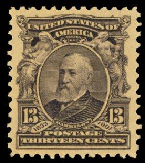 Values of US Stamp Scott Catalogue #308: 1902 13c Harrison. Daniel Kelleher Auctions, Oct 2014, Sale 660, Lot 2309