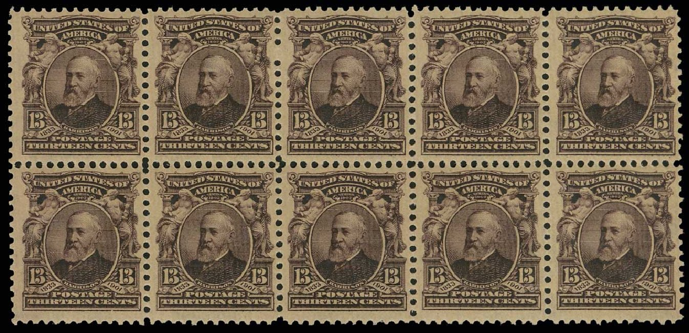 Price of US Stamps Scott #308 - 1902 13c Harrison. H.R. Harmer, May 2014, Sale 3005, Lot 1232