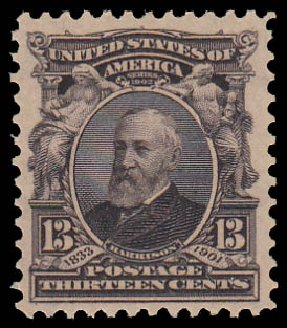 Prices of US Stamps Scott Catalog 308: 13c 1902 Harrison. Daniel Kelleher Auctions, Jan 2015, Sale 663, Lot 1612
