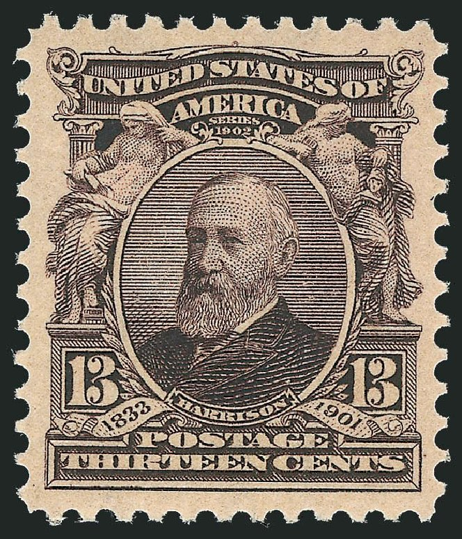 US Stamps Value Scott Cat. #308: 13c 1902 Harrison. Robert Siegel Auction Galleries, Nov 2013, Sale 1061, Lot 3822