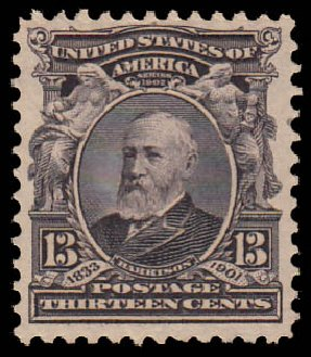 US Stamps Prices Scott 308: 1902 13c Harrison. Daniel Kelleher Auctions, Jan 2015, Sale 663, Lot 1613