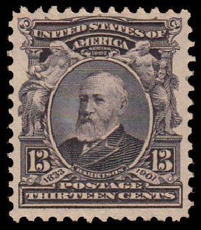 US Stamps Prices Scott 308: 1902 13c Harrison. Daniel Kelleher Auctions, Jan 2015, Sale 663, Lot 1613