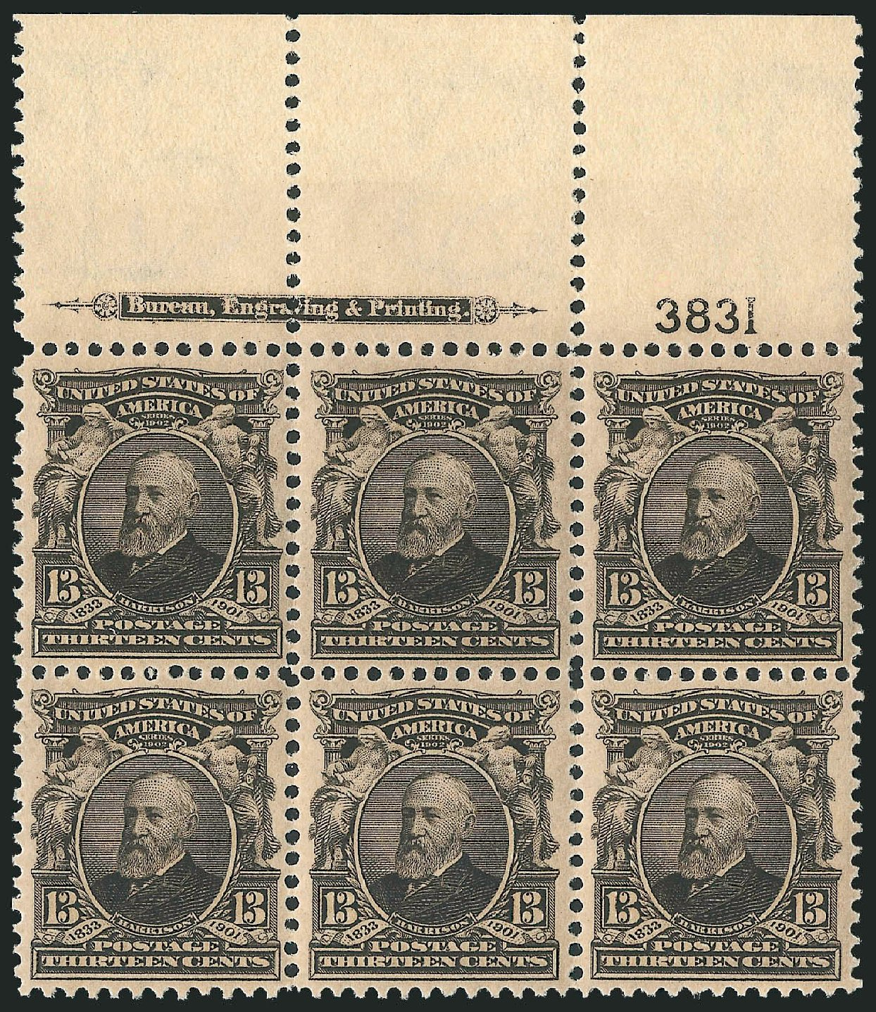 Values of US Stamps Scott Catalog 308 - 13c 1902 Harrison. Robert Siegel Auction Galleries, Nov 2013, Sale 1061, Lot 3823