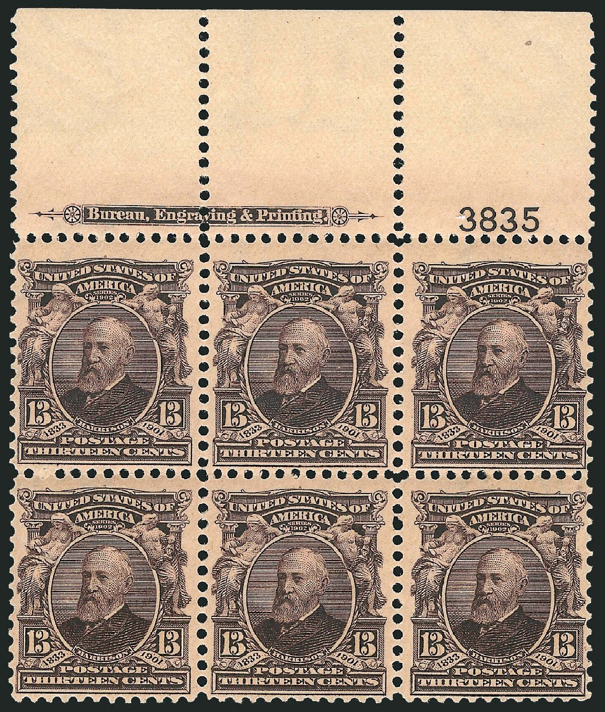 US Stamps Value Scott # 308 - 1902 13c Harrison. Robert Siegel Auction Galleries, Apr 2014, Sale 1068, Lot 226