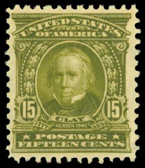 Value of US Stamp Scott Catalog 309 - 1903 15c Henry Clay. Daniel Kelleher Auctions, Dec 2014, Sale 661, Lot 273