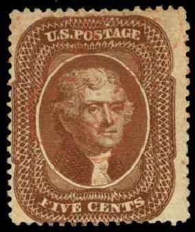 Value of US Stamp Scott Catalogue # 30A: 1860 5c Jefferson. Daniel Kelleher Auctions, Aug 2015, Sale 672, Lot 2204
