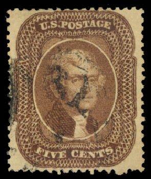 Values of US Stamp Scott Catalog 30A - 5c 1860 Jefferson. Daniel Kelleher Auctions, Aug 2015, Sale 672, Lot 2202