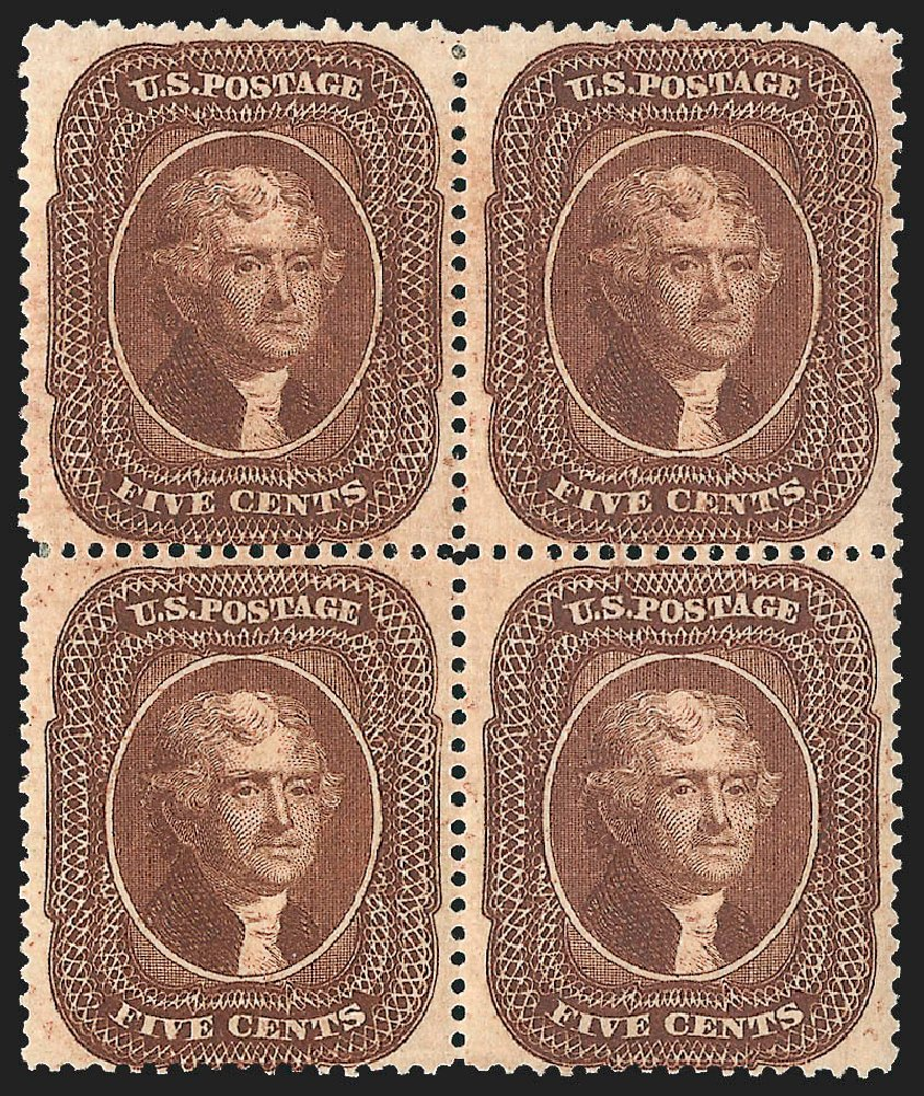 Prices of US Stamp Scott #30A - 5c 1860 Jefferson. Robert Siegel Auction Galleries, Jul 2015, Sale 1107, Lot 92