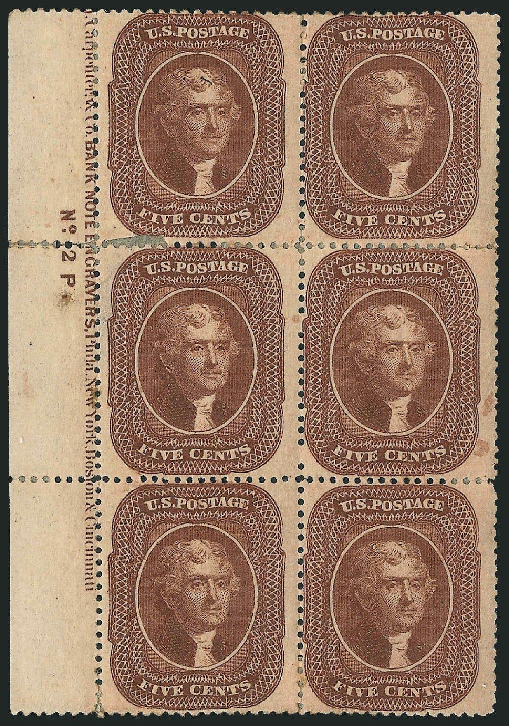 US Stamps Prices Scott Catalogue 30A: 1860 5c Jefferson. Robert Siegel Auction Galleries, Dec 2014, Sale 1090, Lot 1163