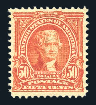 Value of US Stamp Scott Cat. 310 - 1903 50c Jefferson. Harmer-Schau Auction Galleries, Aug 2015, Sale 106, Lot 1737