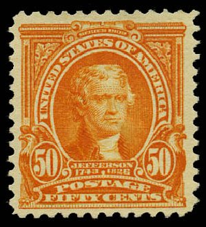 Price of US Stamp Scott #310: 1903 50c Jefferson. Daniel Kelleher Auctions, May 2015, Sale 669, Lot 2857