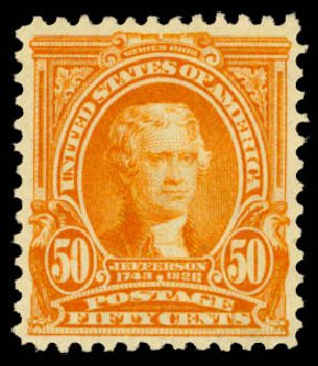 US Stamp Values Scott 310: 50c 1903 Jefferson. Daniel Kelleher Auctions, Aug 2015, Sale 672, Lot 2605