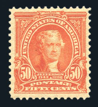 US Stamp Values Scott Catalog # 310: 50c 1903 Jefferson. Harmer-Schau Auction Galleries, Aug 2015, Sale 106, Lot 1736