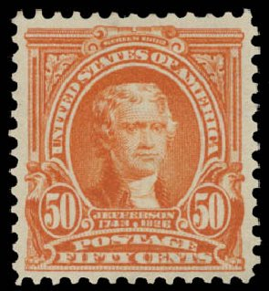 Prices of US Stamp Scott Catalog #310: 1903 50c Jefferson. Daniel Kelleher Auctions, May 2015, Sale 669, Lot 2856