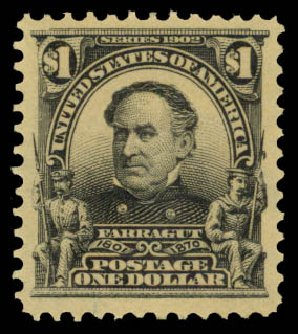 US Stamps Value Scott #311 - 1903 US$1.00 Farragut. Daniel Kelleher Auctions, Aug 2015, Sale 672, Lot 2607