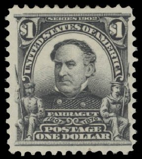 US Stamp Value Scott Cat. #311 - 1903 US$1.00 Farragut. Daniel Kelleher Auctions, Aug 2015, Sale 672, Lot 2608