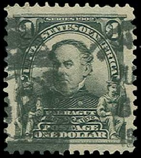 US Stamp Value Scott Catalogue 311: 1903 US$1.00 Farragut. H.R. Harmer, Jun 2015, Sale 3007, Lot 3299