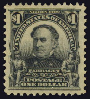 Value of US Stamps Scott Cat. # 311: 1903 US$1.00 Farragut. Daniel Kelleher Auctions, May 2015, Sale 669, Lot 2859