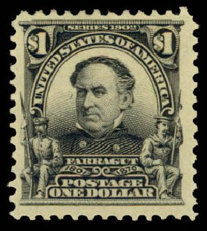 US Stamps Prices Scott Catalogue # 311: 1903 US$1.00 Farragut. Daniel Kelleher Auctions, Aug 2015, Sale 672, Lot 2609