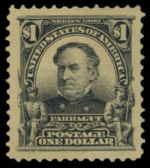 US Stamps Values Scott Catalog 311 - US$1.00 1903 Farragut. Daniel Kelleher Auctions, May 2015, Sale 669, Lot 2860